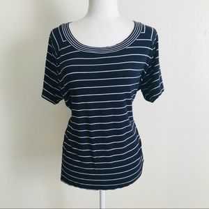 Talbots   Navy Blue and White Striped Top
